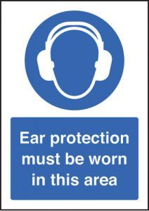 Ear protection must be worn - A5 sav