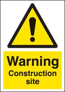 Warning construction site - A4 sav