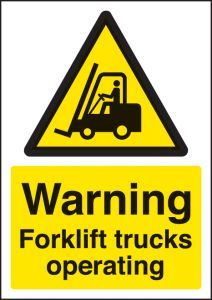 Warning forklift trucks operating - A4 sav