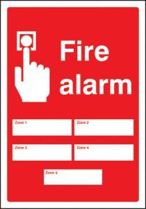 Fire alarm 5 zones adapt-a-sign 215x310mm