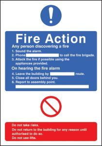 General fire action with lift adapt-a-sign 215x310mm