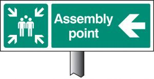 Assembly point left verge sign 450x150mm (post 800mm)