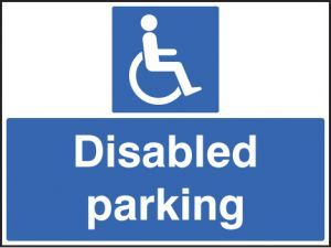 Disabled parking only c/w frame 600x450mm