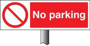 No parking verge sign 450x150mm (post 800mm)