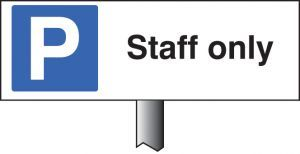 Parking staff only verge sign 450x150mm (post 800mm)