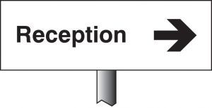 Reception right verge sign 450x150mm (post 800mm)