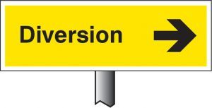Verge sign - Diversion right 450x150mm (post 800mm)