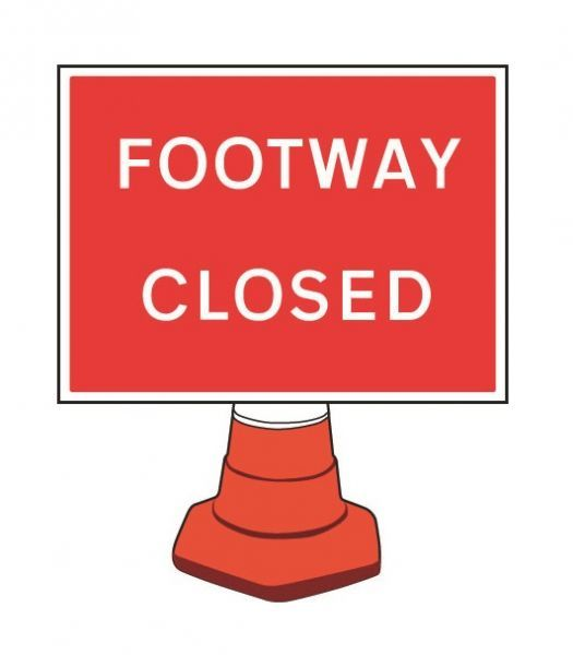 Footway Closed Cone Sign