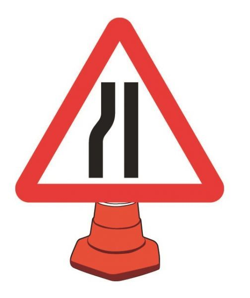 Road Narrowing Left Cone Sign