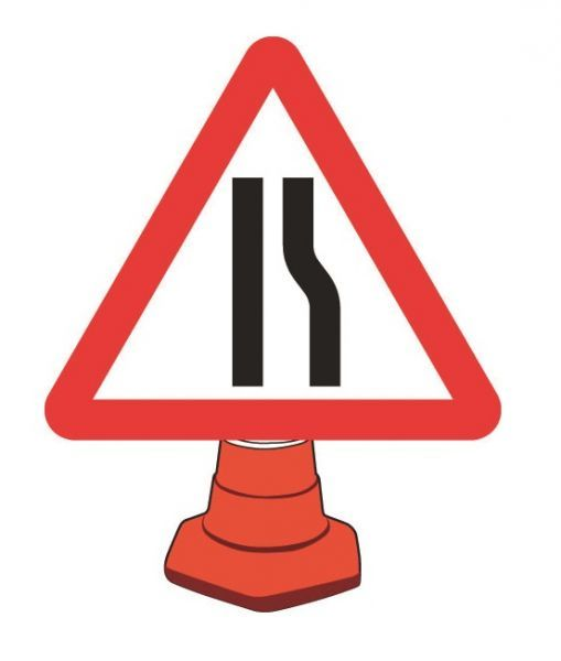 Road Narrowing Right Cone Sign