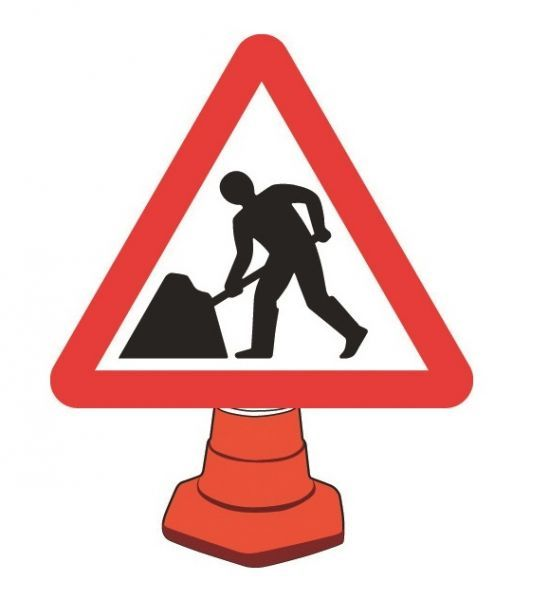 Road Works Cone Sign, 750mm