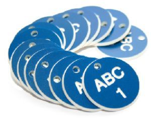 27mm Engraved Valve Tags - 50 sequential numbers - (eg. 1-50) White text on blue