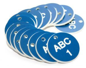 27mm Engraved Valve Tags - 50 sequential numbers with prefix - (eg. 1-50) White text on blue