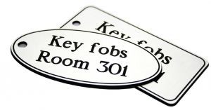 50x100mm Key fob rectangle - White text on blue