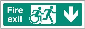 Disabled fire exit arrow down - inclusive design