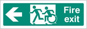 Disabled fire exit arrow left - inclusive design