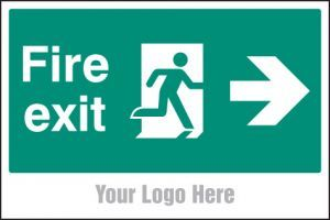 Fire exit, arrow right, site saver sign 600x400mm