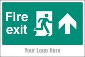 Fire exit, arrow up, site saver sign 600x400mm
