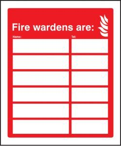Fire wardens are (6 names and numbers)