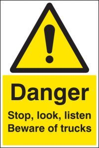 Danger stop, look, listen beware of trucks floor graphic 400x600mm