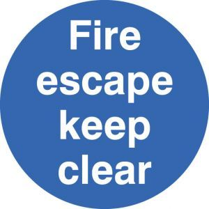 Fire escape keep clear floor graphic 400mm dia