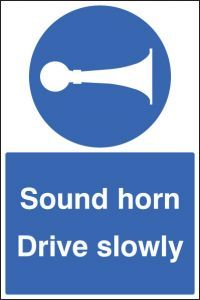 Sound horn drive slowly floor graphic 400x600mm