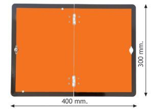 Folding hazard warning vehicle plate 400x300mm reflective aluminium