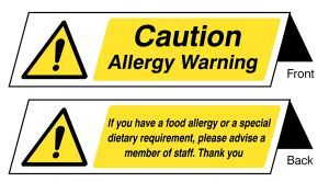 Food allergy notice double sided plastic table cards (pack of 5)