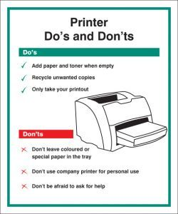 Printer - Do's & Dont's