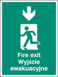Fire exit arrow down (English/polish)
