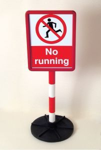Bespoke sign in red frame on post c/w base