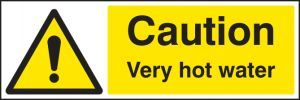 Caution very hot water 300x100mm adhesive backed