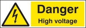 Danger high voltage 300x100mm adhesive backed