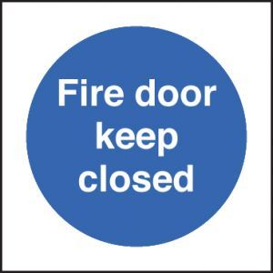 Fire door keep closed 80x80mm adhesive backed