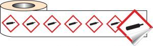 250 S/A labels 100x100mm GHS Label - Compressed Gas