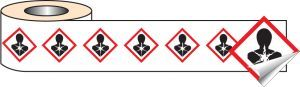 250 S/A labels 100x100mm GHS Label - Health Hazard