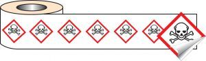 250 S/A labels 100x100mm GHS Label - Toxic