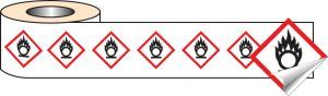 250 S/A labels 50x50mm GHS Label - Oxidiser