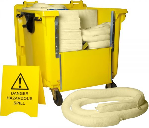 1000 Litre Chemical Spill Kit Wheeled Bin