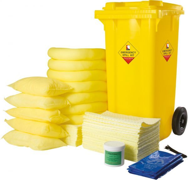 240 Litre Yellow Chemical Spill Kit Wheeled Bin