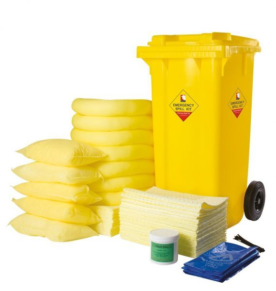 360 Litre Yellow Chemical Spill Kit Wheeled Bin