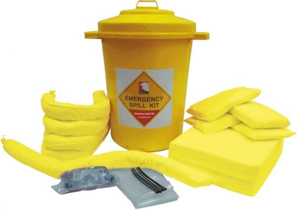 80 Litre Yellow Chemical Spill Kit Static Bin