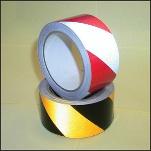 Reflective safety tape black/yellow 50mm x 25m