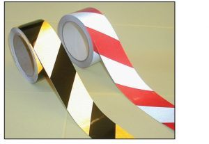 Reflective safety tape red/white 50mm x 25m