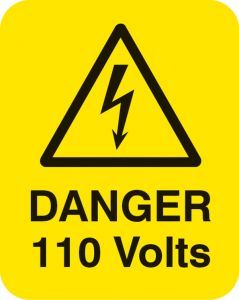 Danger 110 volts Sheet of 25 labels 40x50mm
