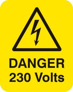 Danger 230 volts Sheet of 25 labels 40x50mm
