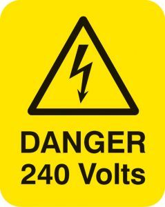 Danger 240 volts Sheet of 25 labels 40x50mm