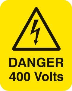 Danger 400 volts Sheet of 25 labels 40x50mm