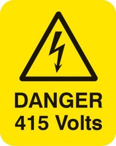 Danger 415 volts Sheet of 25 labels 40x50mm