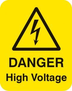 Danger high voltage Sheet of 25 labels 40x50mm